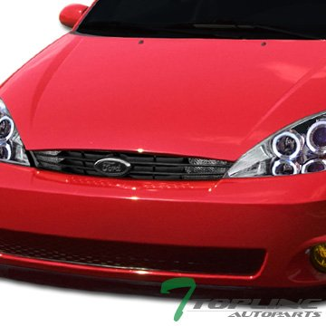 Topline Autopart Matte Black OE Style Front Hood Bumper Grill Grille ABS With Center Signal Parking Lights For 00-04 Ford Focus