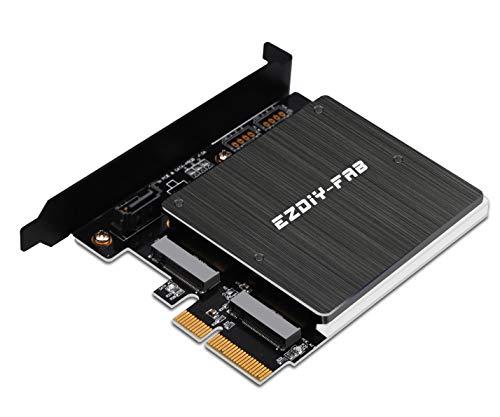 EZDIY-FAB Dual M.2 Adapter for SATA and PCIE NVMe SSD with RGB LED Heatsink,Support NGFF PCIe SSD (M Key), M2 SATA SSD (B&M Key) 2280 2260 2242 2230