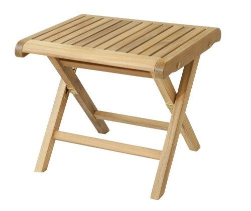 Eleganter Fußhocker aus der Premium-Serie Brighton gefertigt aus Teakholz 49x42 cm/ Beistelltisch/ Teak-Tisch/Gartenfußhocker/ Gartenmöbel/ Holztisch/ Gartentisch/ Esstisch/ massiv/ Gartenbeistelltisch/ Premium-Qualität