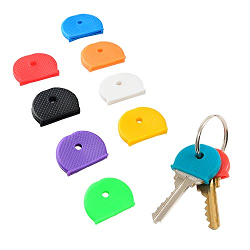 (Uniclife Key Cap Covers Rings, 32 Pack, 8 Assorted Colors Key Identifier Tag Covers)