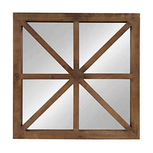 Kate and Laurel Mace Decorative Square Windowpane Design Wooden Wall Mirror, Rustic Brown, - Ornate Six Cast Light