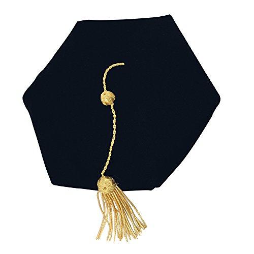 GGS Doctoral Graduation Tam Black Velvet 6-Sided with Gold Bullion - Tassel Hat Graduation