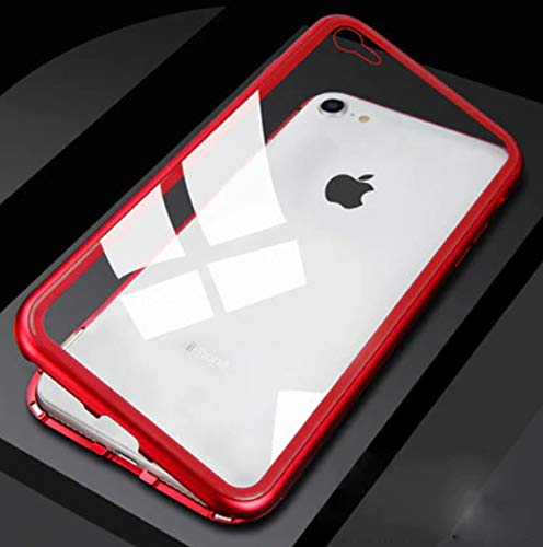 Magnetic Metal Glass Case for Full Cover Tempered Glass Back Magnet Cases - Estuche Magnetico Fundas Forros (Red, iPhone Xs (5.8