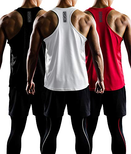 DRSKIN Men's 3 Pack Dry Fit Y-Back Gym Muscle Tank Mesh Sleeveless Top Fitness Training Cool Dry Athletic Workout (BTF-ME-TA-(B,W,R), M) (Cheap Clothes Gym)