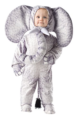Cuddly Elephant Toddler Costumes (Underwraps Baby's Elephant Printed, Grey, Small)