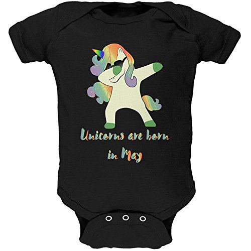 Old Glory May Birthday Dabbing Unicorn Sunglasses Soft Baby One Piece Black 0-3 - Sunglasses Month 3 Old