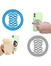 Yingmore Phone Grip Holder, Phone Ring Strap Holder Elastic Silicone Gripper for Back of Phone Loop Finger Holder for Hand, Compatible with iPhone, Samsung, Android Smart Phone, 2pcs Gray/Blue