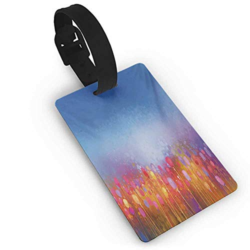 Boarding Tags Luggage Tag Flower,Abstract Tulip Garden under Blue Sky in Medieval Ottoman Orient Culture Symbols,Multicolor Good-looking