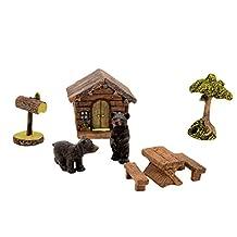 Miniature Fairy Garden Bear Set Mini Outdoor Dollhouse Yard Art
