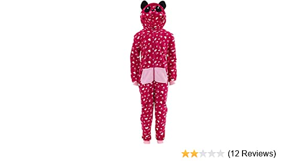 Chili Peppers Girls Gray Cat Fleece Hooded Critter One-Piece w Pockets Pajamas
