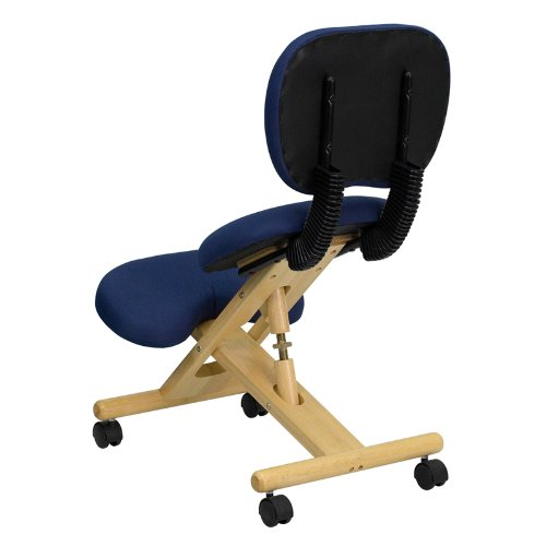 Flash Furniture Mobile Wooden Ergonomic Kneeling Posture Office Chair with Reclining Back in Navy Blue Fabric