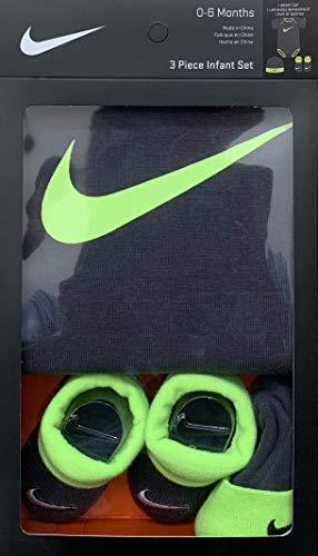 Jordan or Nike 3 Pieces Newborn Boys or Girls Gift Box 0-6 or 6-12 Months 100% Cotton   Newborn Bodysuit, Booties & Cap (Neon Yellow Swoosh/Grey),0-6 Months)
