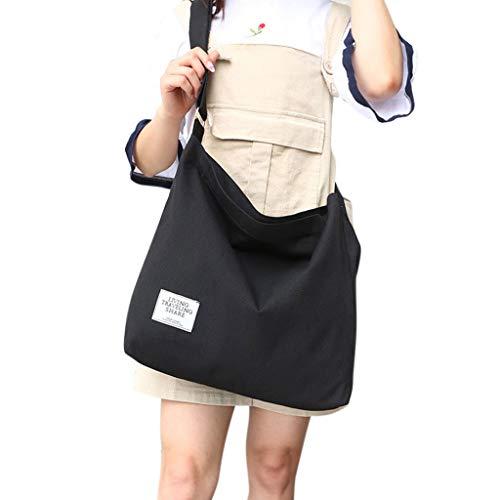 Color Bandolera Negro Blanco Gris Lamdoo para de 36x9x36cm Size Estilo Claro Casual Lona App Mujer Bolso 58wqp