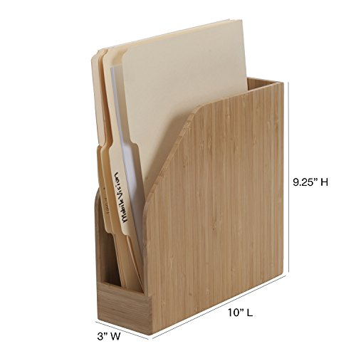 Bamboo Vertical File Folder Holder & Office Product Organizer, Store Files, Magazines, Notepads, Books and More, 2 Pack Combo Set by MobileVision (Image #4)