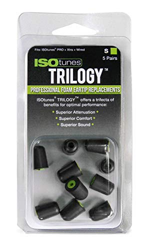 ISOtunes Trilogy Foam Replacement Eartips for ISOtunes Xtra and ISOtunes Wired (5 Pair Pack) (Small, Green)