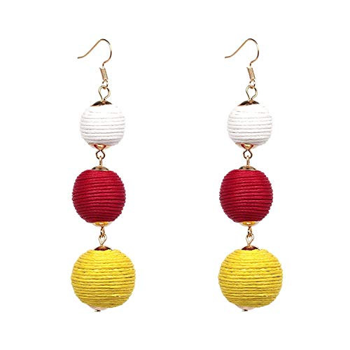 Triple Ball Thread Wrapped Dangle Earring Bon Bon Long Tassel Pendientes Statement Fringe Earrings Women,White ()