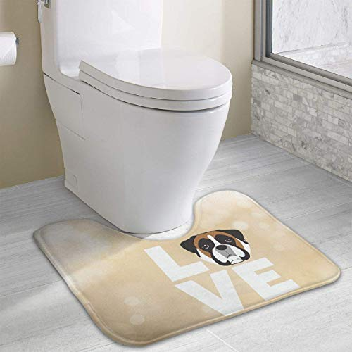 Bennett11 Love Boxer Dog U-Shaped Toilet Floor Rug Non-Slip Toilet Carpets Bath Mats Rug 19.2″x15.7″
