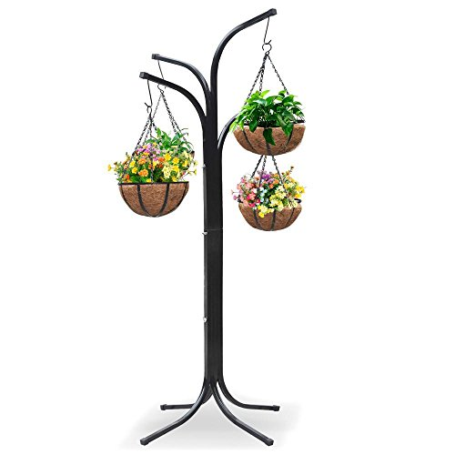 (Yaheetech 4-Arm Tree with 4 Hanging Baskets Patio Stand Garden Plant )