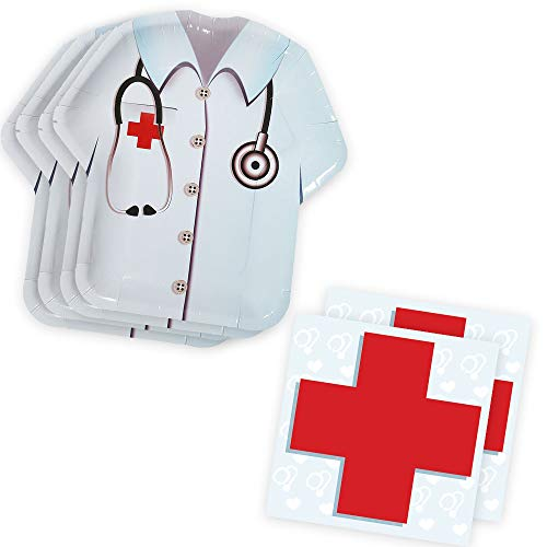 Doctor Party Shaped Plate & Napkin Sets (70+ Pieces for 32 Guests!), Doctor Birthday Decorations, Nurse Party Supplies, Great for Graduations and Other Events (Theme Medical Party)