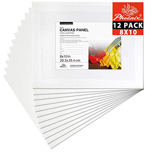 PHOENIX Painting Canvas Panel Boards - 8x10 Inch / 12 Pack - 1/7 Inch Deep Super Value Pack for Professional Artists, Students & Kids
