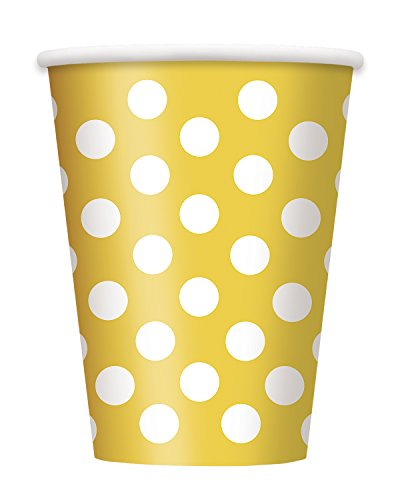 12oz Yellow Polka Paper Cups