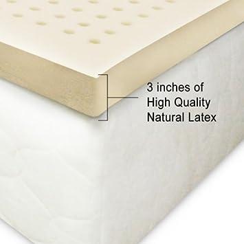 100 natural latex mattress topper 3 inches firm queen