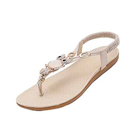 Women Thong Sandals Flip Flop Owl Rhinestone Flats Leather Slingbacks Beach Shoe Beige