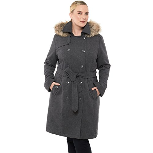 alpine swiss Womens Wool Parka Jacket Removable Fur Trim Hood Belted Trench Coat Gry 2XL