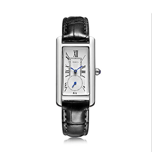 Classic Quartz Watch Women Leather Band Lady Luxury Antique Stylish Square Dress Watch (Silver & Black) Black Leather Square Watch