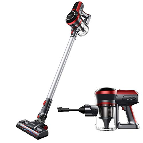 Cordless Vacuum Cleaner, Powerful 130W Motor, Lightweight and Quiet, 45 Minutes Long Runtime, 2 in 1 Stick and Handheld, Wall Mounted (Best Hoover For Wooden Floors)