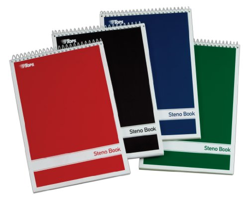 TOPS Spiral Steno Books, 6 x 9 Inches, Gregg Rule, Greentint Paper, Assorted Covers, 80 Sheets per Book, 4 Books per Pack (80221)