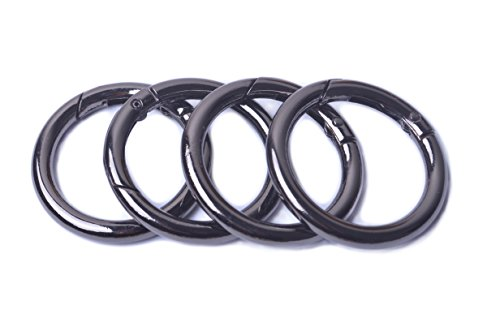 Bobeey 8pcs Black Gun Spring O Ring,Round Carabiner Snap Clip Trigger Spring Keyring Buckle,O ring for bags,purses BBC3 (1.5''(3.8cm), Black Gun) (Square Ring Metal)
