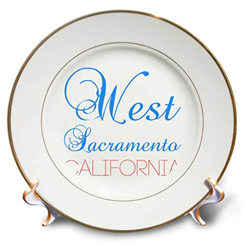 - 3dRose Alexis Design - American Cities California - West Sacramento, California, red, Blue Text. Patriotic Home Town Art - 8 inch Porcelain Plate (cp_302762_1)