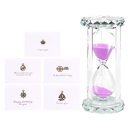 SZAT PRO Hourglass with Greeting Card, Sandglass Sand Timer with Gift Box Package(Crystal Pink,30 Minutes)