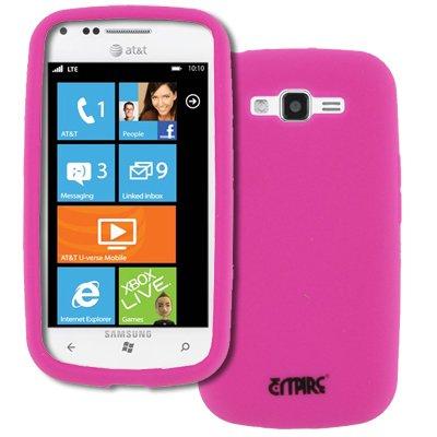 EMPIRE AT&T Samsung Focus 2 I667 Silicone Skin Case Tasche Hülle Cover (Hot Pink Rosa) + Auto Windschutzscheibe Bergs + Invisible Displayschutzfolie Film
