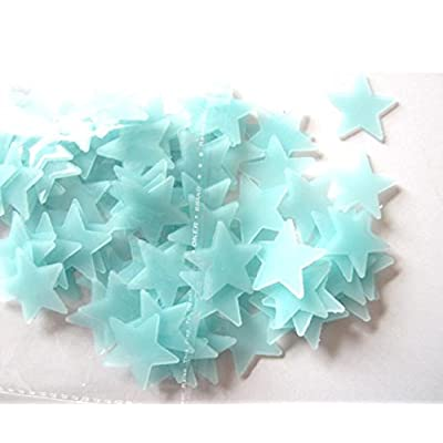 Ackful???? 100PC Kids Bedroom Fluorescent Glow in The Dark Stars Wall Stickers (Blue): Toys & Games