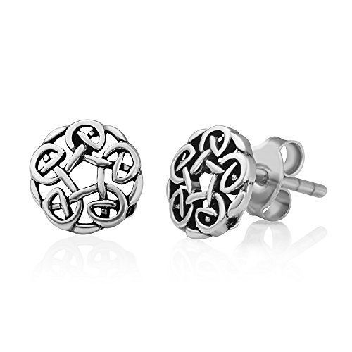 925 Oxidized Sterling Silver Tiny Round Celtic Knot Open Post Stud Earrings 7 mm, Unisex Jewelry -
