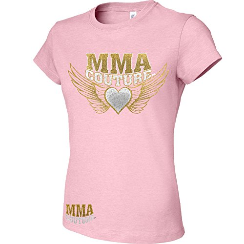 MMA Couture Shorts Sleeve Womens Girls New T Shirt MMA UFC Muay Thai Boxing Bjj Nhb W Free Tapout Sticker (Small, Light Pink / Silver Gold Logo)