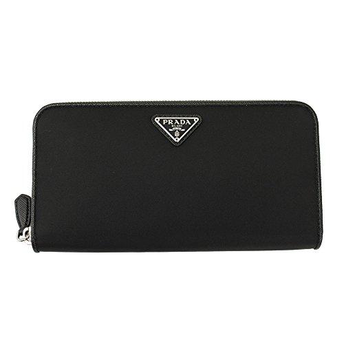 Prada Black Nylon Zip Around Long Wallet 1ML506 Nero