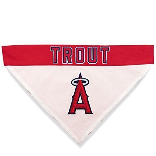 MLBPA Reversible Dog Bandana - Mike Trout #27 Pet Bandana - MLB Los Angeles Angels Home & Away Bandanna, Large/X-Large]()
