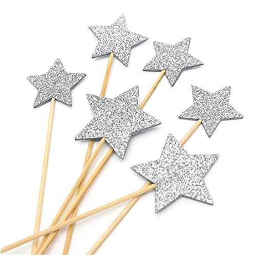 Cake Decorating Supplies - Baby Cupcake Flags Picks Birthday Party Decor Star - Blue Mouse Sale Purple Stand Large Moana Cardboard Eyes Prime ()