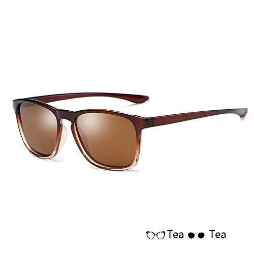 espejo Sunglasses sol hombre sol Tea Gafas de de polarizadas atrás cuadrado sol hombres para de Gafas de mate rayos gafas Vintage gafas TL negro de U40dwU