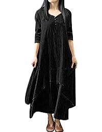 Womens Dress Clearance Casual Loose Long Sleeve Cotton Linen Boho Long Dress Chic Irregular