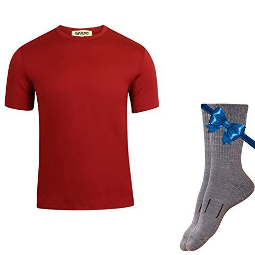 Merino.tech 100% NZ Organic Merino Wool Lightweight Men's T-Shirt + Merino Wool Hiking Socks Bundle | Short Sleeve Crew Tee | Moisture Wicking | No Odor | UPF 25 (Medium, -