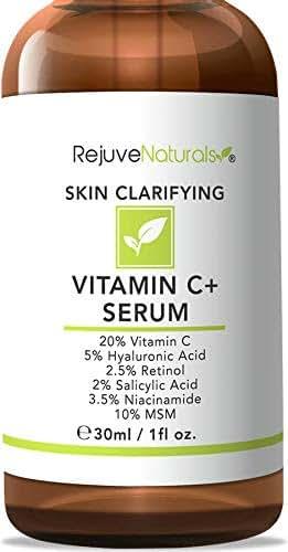 Vitamin C Serum Plus 5% Hyaluronic Acid, 2% Retinol, 2% Salicylic Acid, 3.5% Niacinamide, 10% MSM, 20% Vitamin C - Anti Aging Anti Wrinkle Skin Clearing Serum Organic Skin Care for Face and Eyes (1oz)