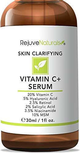 (Vitamin C Serum Plus 5% Hyaluronic Acid, 2% Retinol, 2% Salicylic Acid, 3.5% Niacinamide, 10% MSM, 20% Vitamin C - Anti Aging Anti Wrinkle Skin Clearing Serum Organic Skin Care for Face and Eyes (1oz))