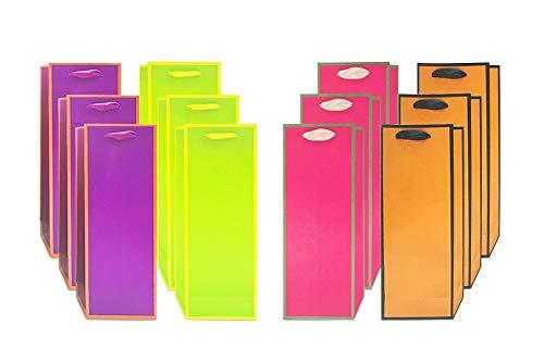 UNIQOOO 12 Pcs Premium Assorted Vivid Pink Orange Green Purple Wine Gift Bags,14x5x 3.25, Recyclable Paper,Liquor Wine Bottle Carrier Tote Bag for Wedding, Housewarming, Retirement, Party