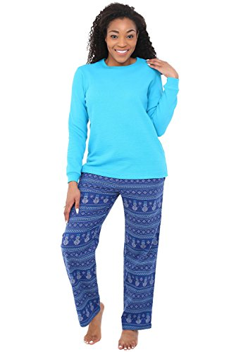 - Alexander Del Rossa Womens Flannel Pajamas, Knit Top Cotton Pj Set, XL Blue Christmas Snowman Cross Stitch (A0700Q79XL)