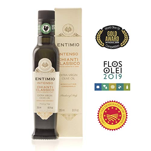 Entimio Intenso, Tuscan Extra Virgin Olive Oil, Rich in Flavor and Polyphenols, Artisan Family 2018 Harvest, Gold Award, Tuscany, Italy, No Pesticides, First Cold Pressed, 8.5 fl oz