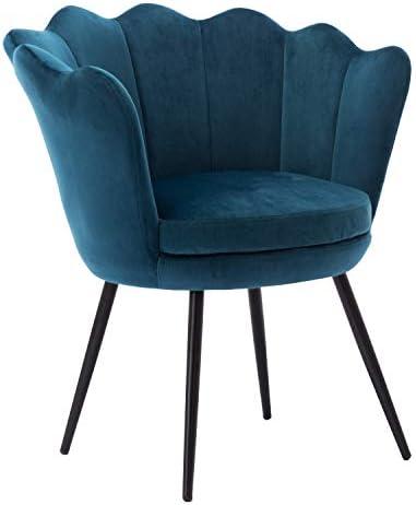 Mordern Velvet Accent Chair,Comfy Lotus Upholstered Armchair Single Sofa for Living Room Bedroom Teal